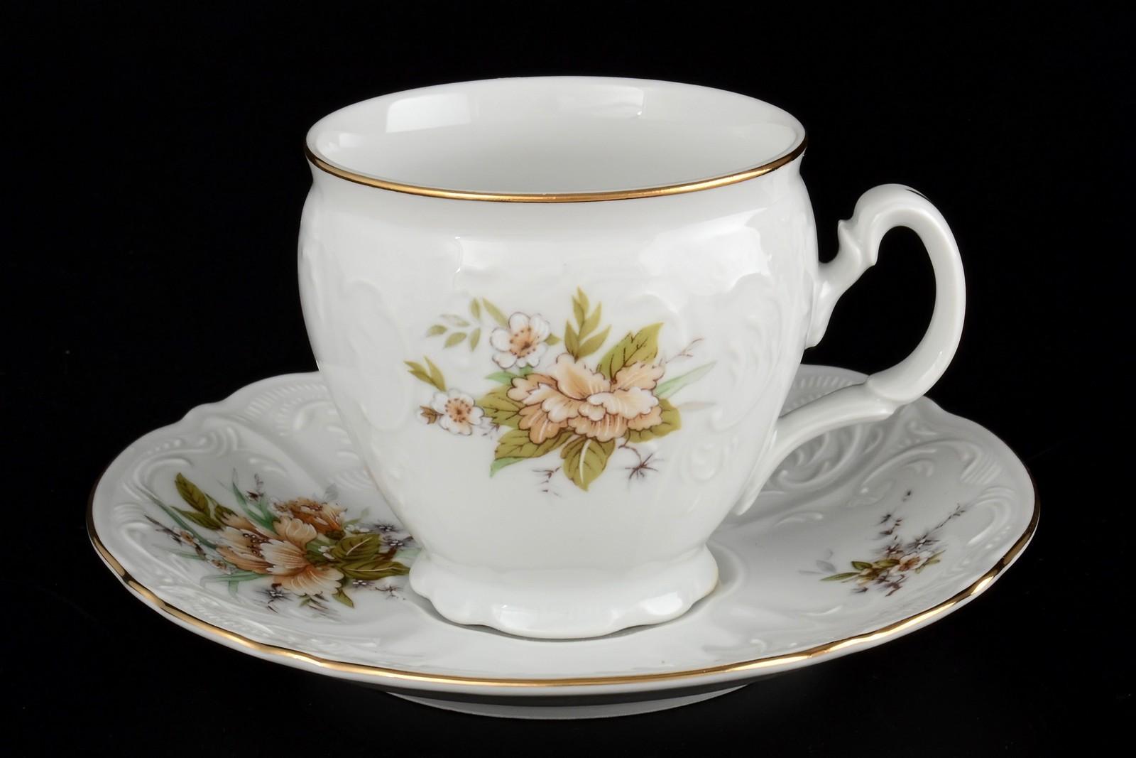 Набор чайных пар бочка 240 мл Бернадотт Зеленый цветок (6 пар)