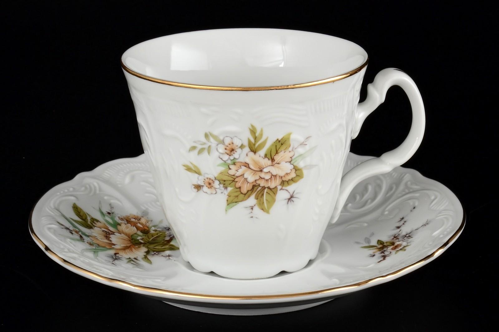 Набор чайных пар ведерка 200 мл Бернадотт Зеленый цветок (6 пар)