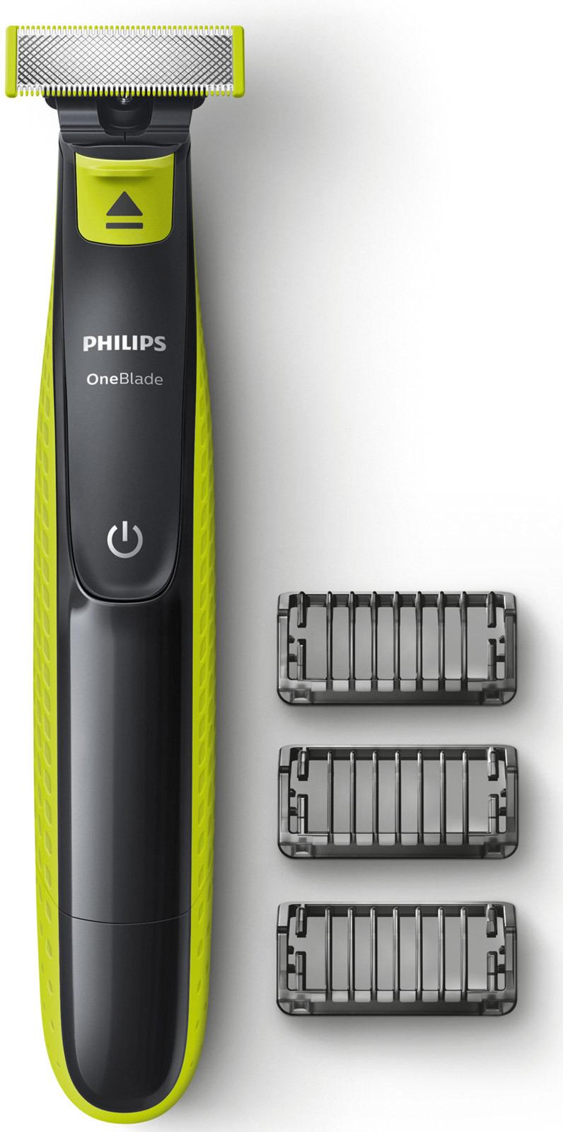 Триммер для бороды и усов Philips OneBlade QP2520/20 с 3 насадками-гребнями аксессуар сменное лезвие philips qp210 oneblade oneblade pro 1шт