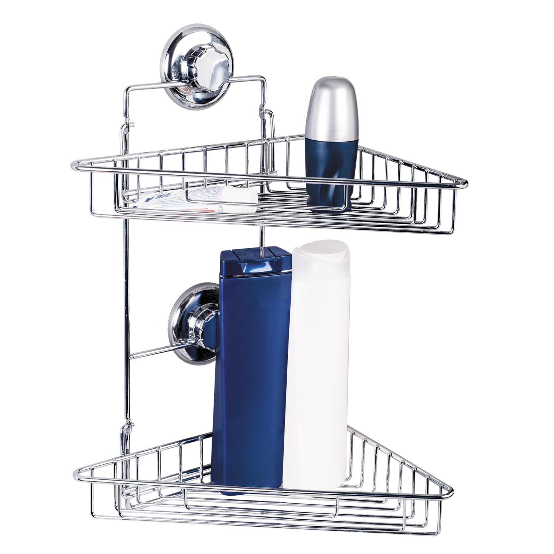 цена на Полка для ванной комнаты Tatkraft MEGA LOCK 2-х ярусная складная 25х27х41 см, хромированная сталь, Хромированная поверхность, Нержавеющая сталь с покрытием