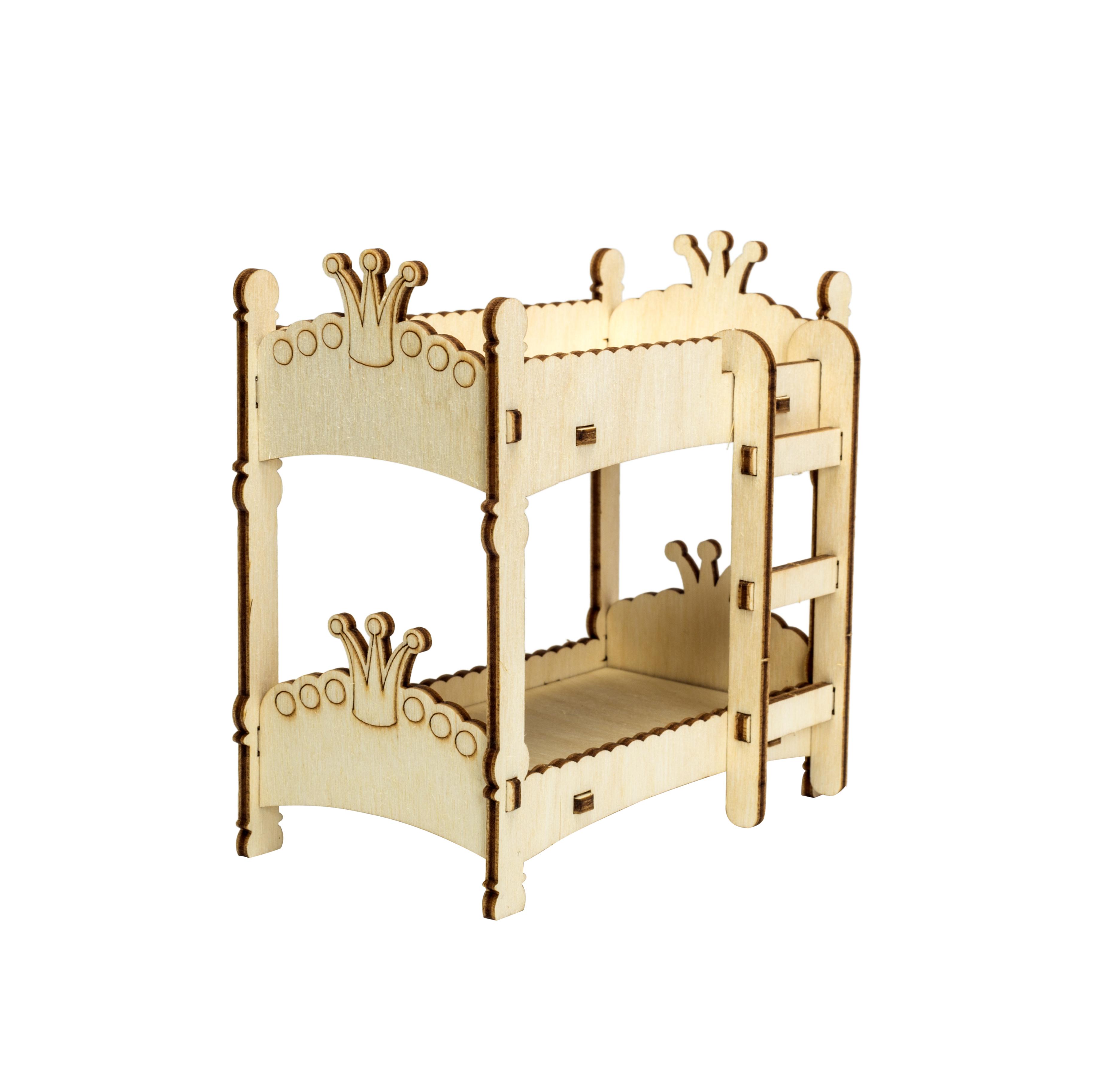 Мебель для кукол Iq Format в домик для кукол LOL, двухэтажная кроватка бежевый
