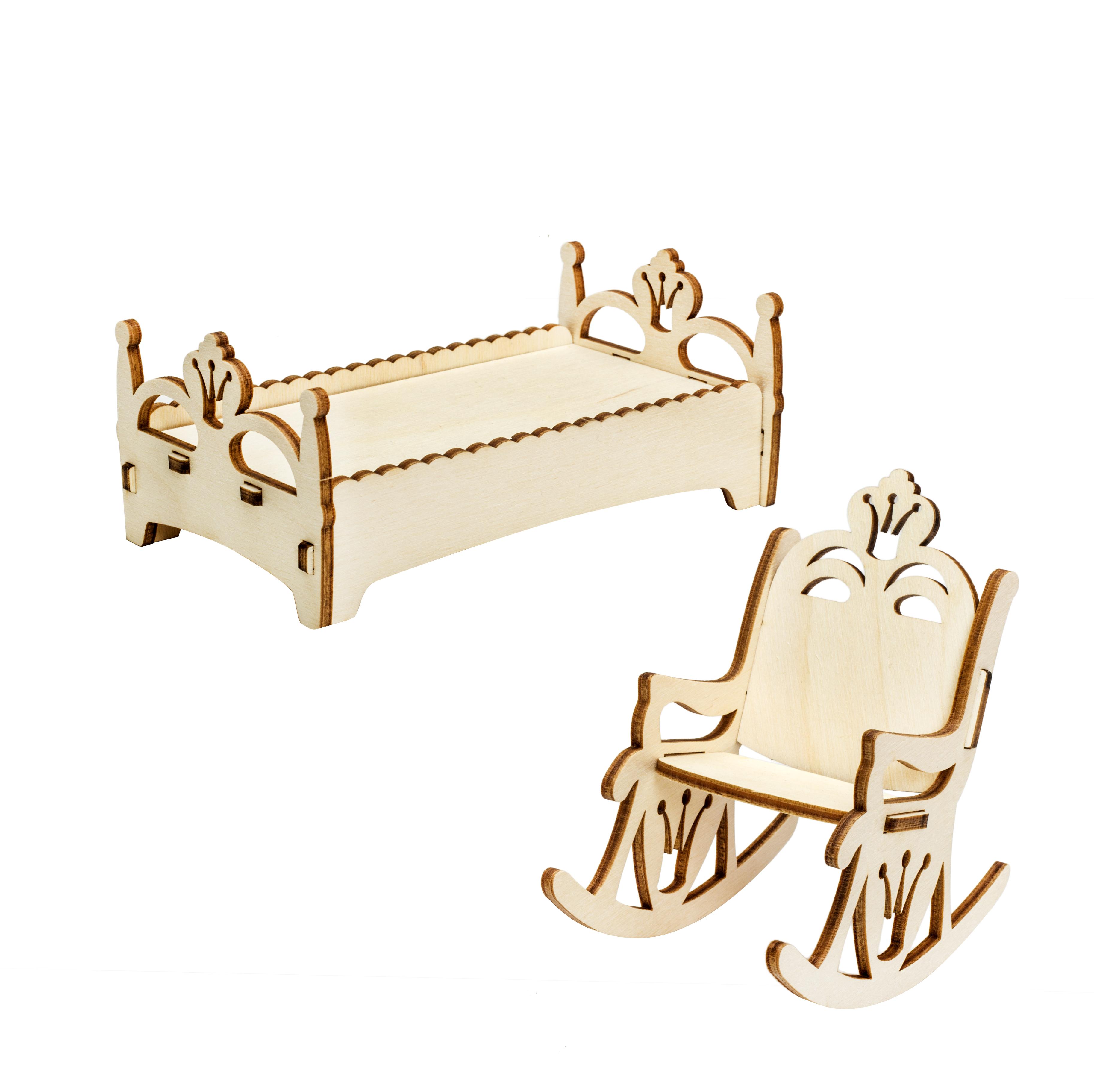Мебель для кукол Iq Format в домик для кукол LOL, кресло-качалка и кроватка бежевый