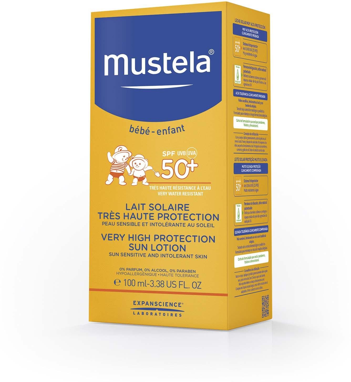 купить Молочко солнцезащитное Mustela с очень высокой степенью защиты, SPF 50+, 100 мл недорого