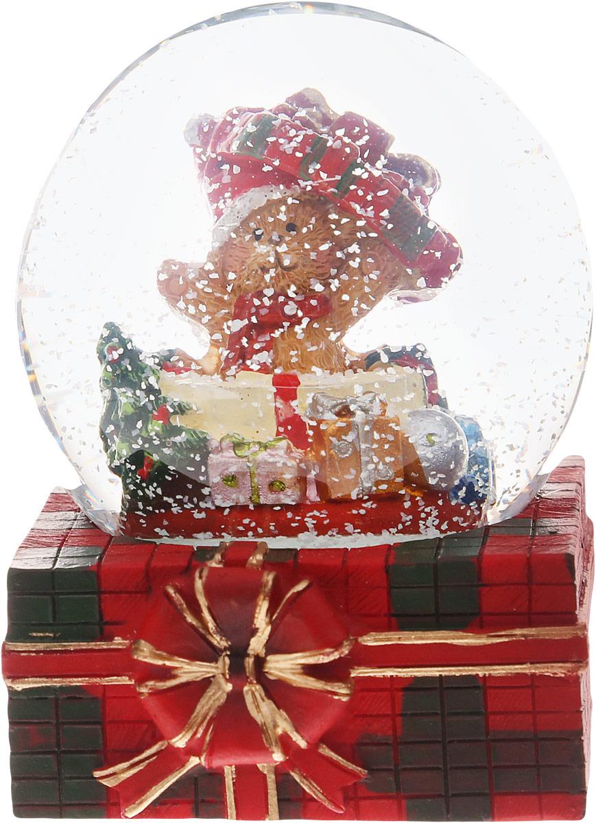 Шар водяной со снегом Русские подарки Новогодний мишка, 7 х 7 х 9 см елочная игрушка русские подарки шар 12 см 176506