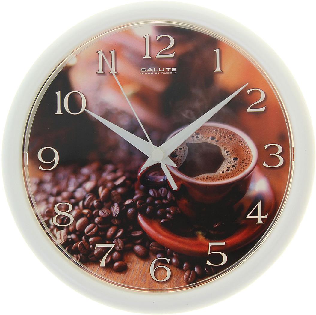 """Настенные часы """"Кофе"""" круглые, 1130904, белый"""