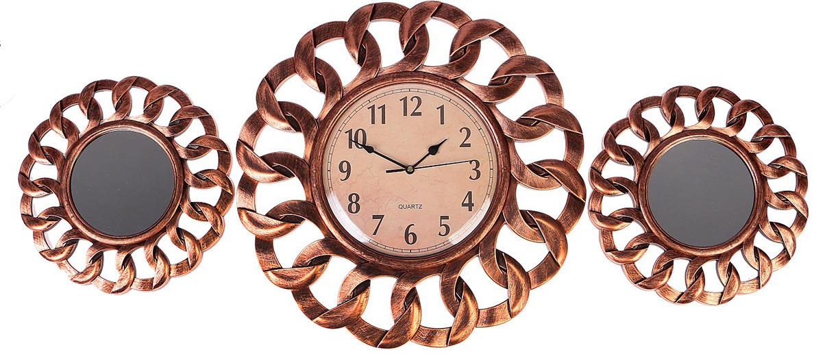 Настенные часы Лепнина с зеркалами, с рамкой-петлей