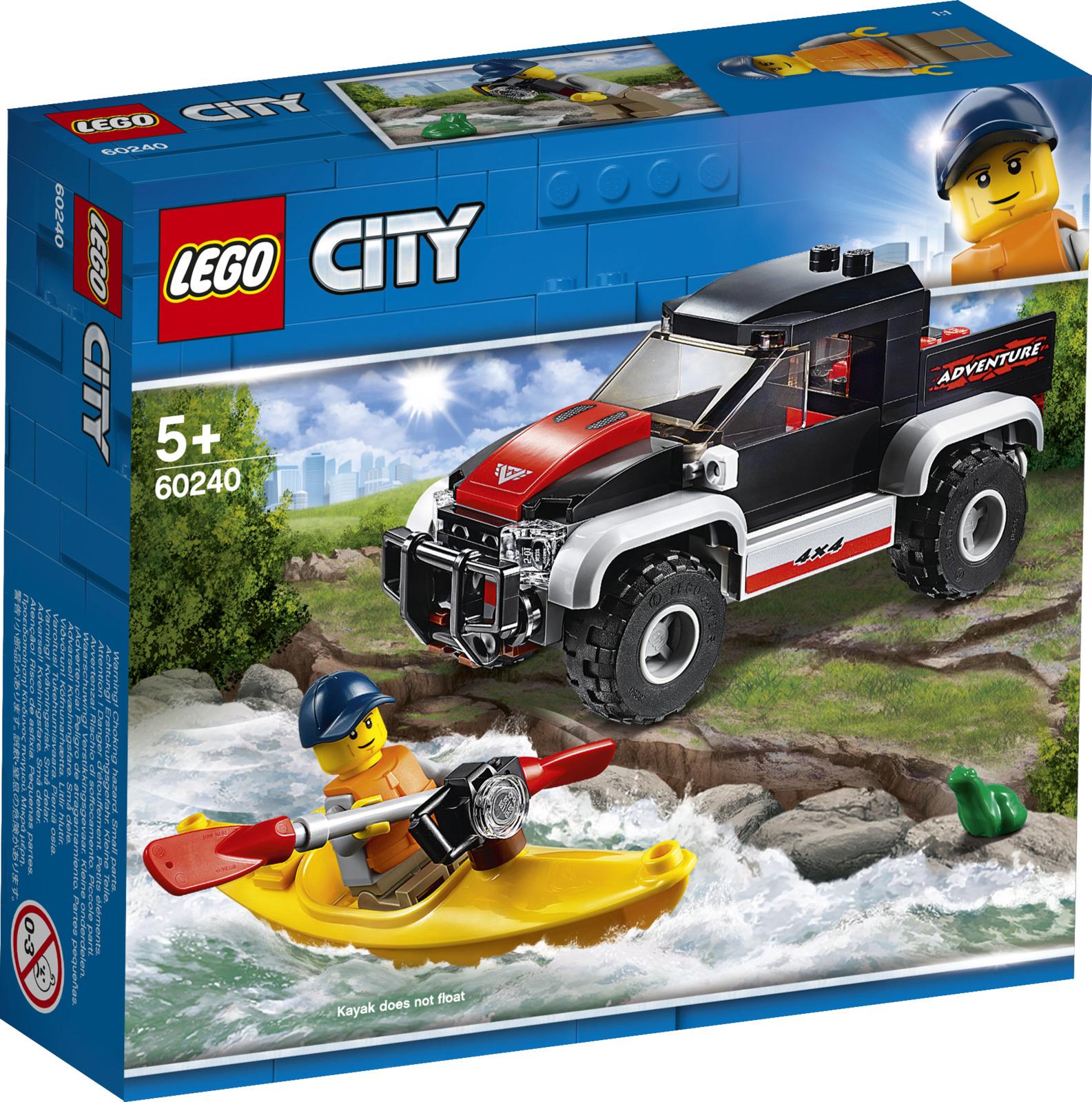 LEGO City Great Vehicles 60240 Сплав на байдарке Конструктор60240Выбери грузовой внедорожник и байдарку и отправляйся навстречу новым приключениям! Собираешься отдохнуть на берегу реки? Не забудь взять с собой камеру! Выгрузи байдарку из грузовика, надень спасательный жилет и спускайся к воде. Ух-ты, какая классная лягушка! Возьми камеру, чтобы сделать фото, а потом сплавляйся вниз по течению, где тебя ждут новые приключения.