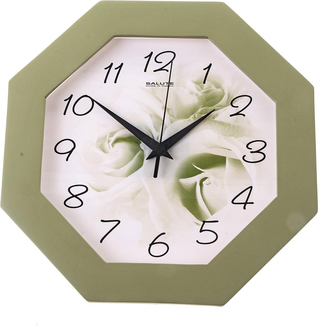 """Настенные часы """"Цветок"""" с рамкой, 159500, зеленый"""