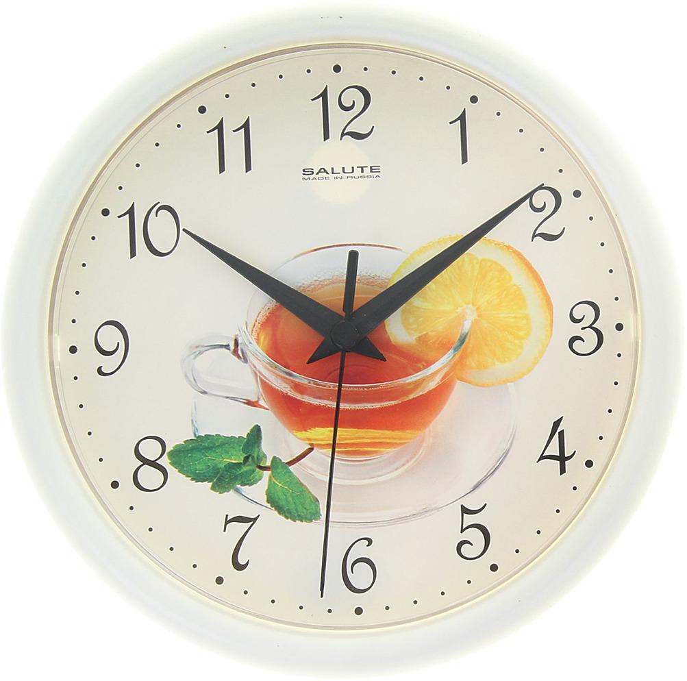 """Настенные часы """"Чай"""" с рамкой, 1130903, белый"""