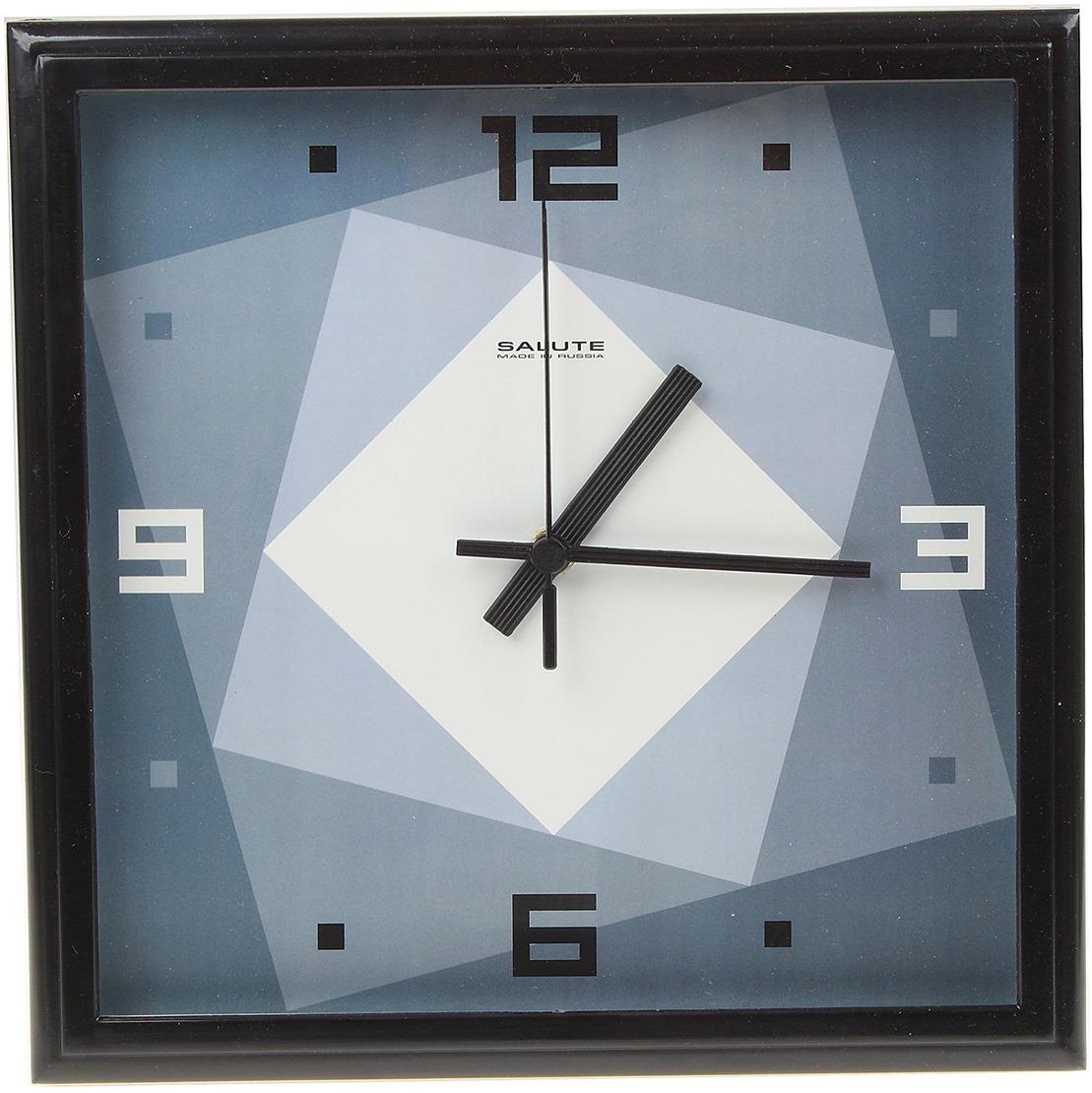 """Настенные часы """"Квадраты"""" с рамкой, 534284, черный"""
