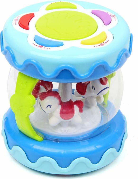 Музыкальная игрушка-барабан Лошадки на карусели, 72407, развивающая