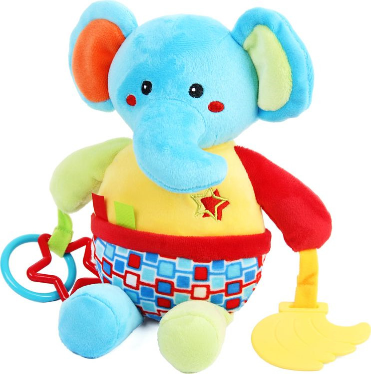 Игрушка-гремелка Ути Пути Слоник, 72432, текстиль игрушка веселые ути пути репортер уточка