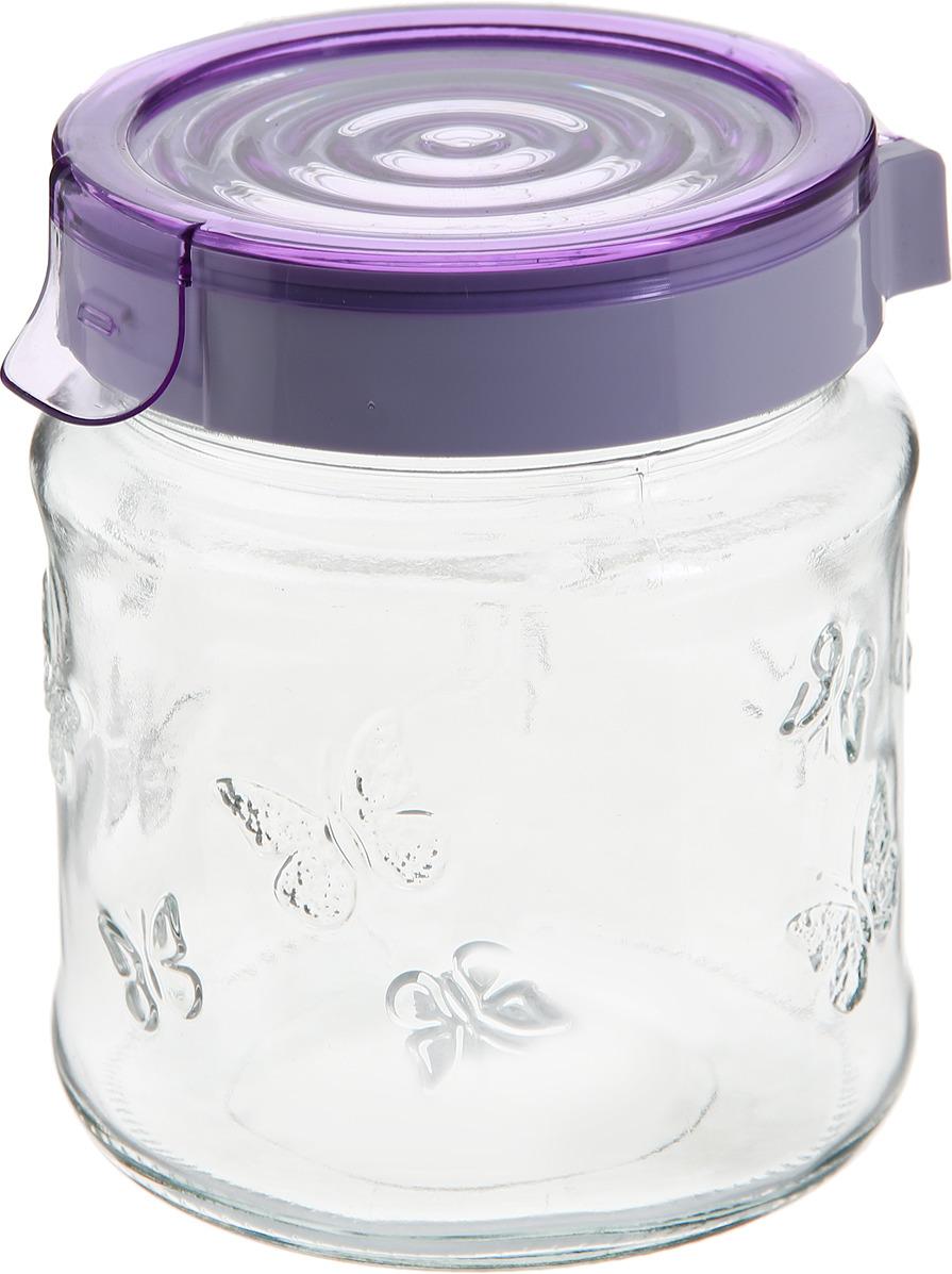Банка для сыпучих продуктов Herevin с крышкой, 143200-500, фиолетовый, 1 л банка для сыпучих продуктов herevin цвет фиолетовый прозрачный 425 мл 135357 500