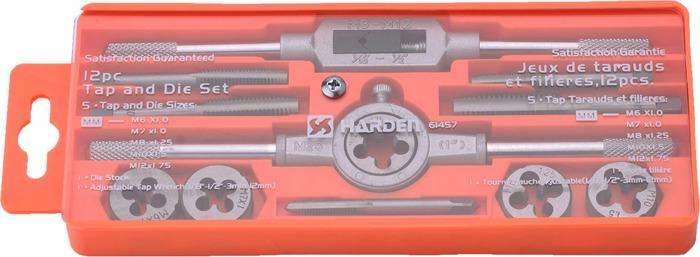 Набор метчиков и плашек Harden, 610457, профессиональный, 12 предметов набор плашек ключ для плашек berger 30×11 bg1186
