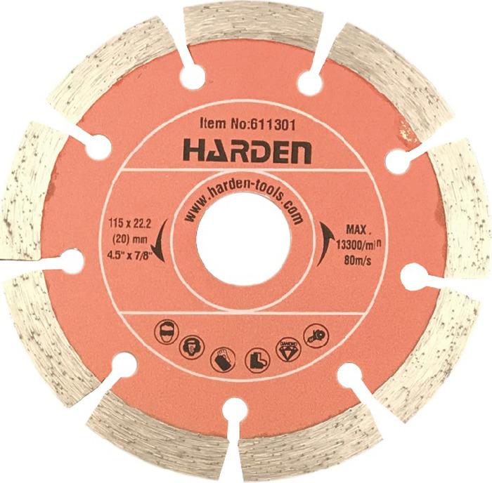 Диск алмазный отрезной Harden, 611304, сегментный, сухая резка, 180 х 22,2 мм диск harden 611302 алмазный отрезной сегментный 125 х 22 2mm сухая резка