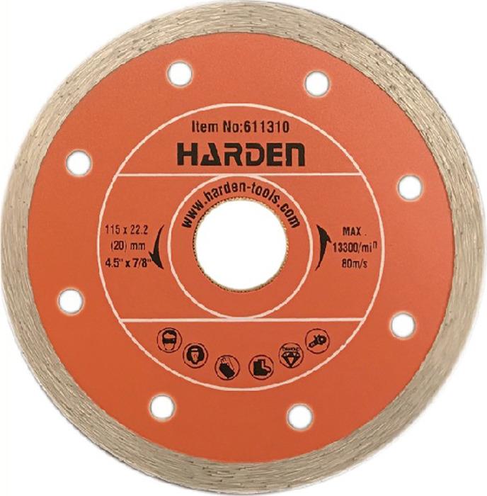 Диск алмазный отрезной Harden, 611312, сплошной, влажная резка, 125 х 22,2 мм диск алмазный sparta 731415 отрезной сплошной 125 22 2мм влажная резка