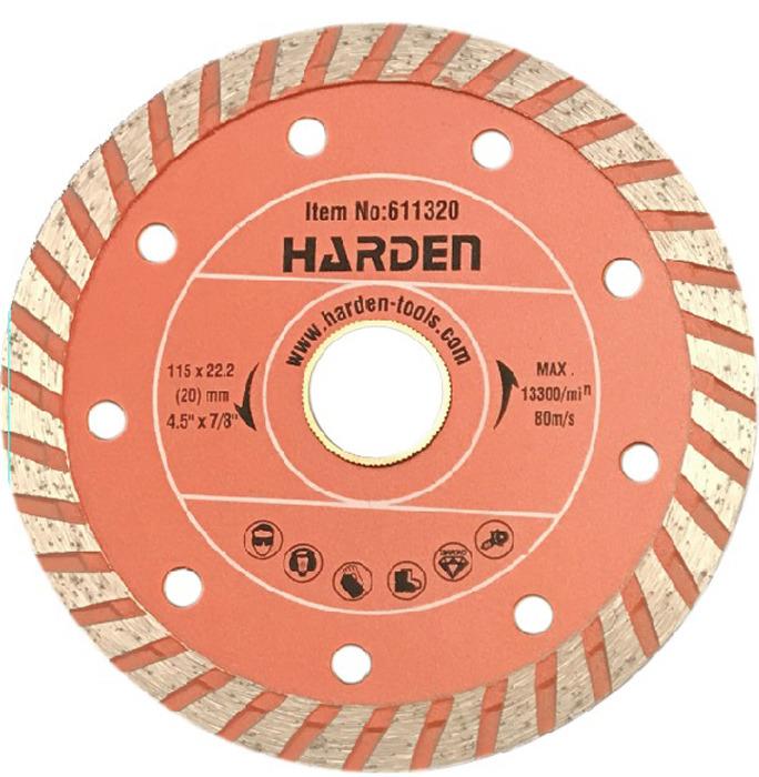 Диск алмазный отрезной Harden Турбо, 611322, сухая резка, 125 х 22,2 мм диск harden 611302 алмазный отрезной сегментный 125 х 22 2mm сухая резка