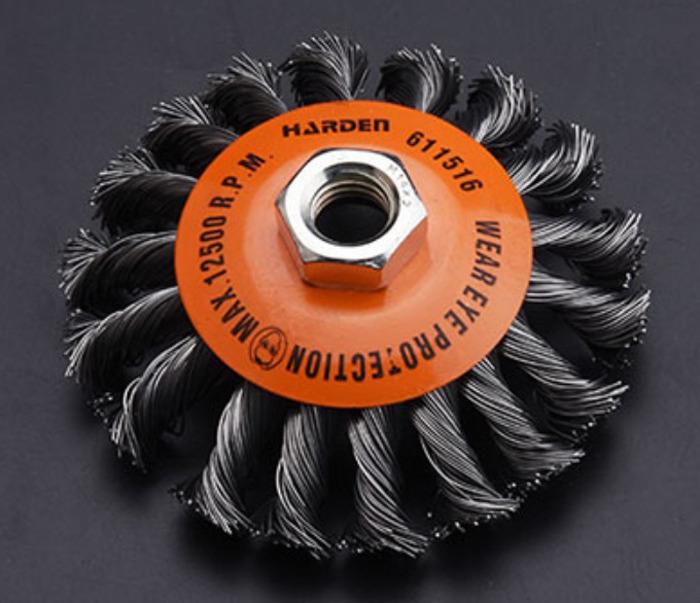 Щетка для УШМ Harden, 611516, М14 х 2.0, 100 мм щетка harden 75mm м14х2 611502