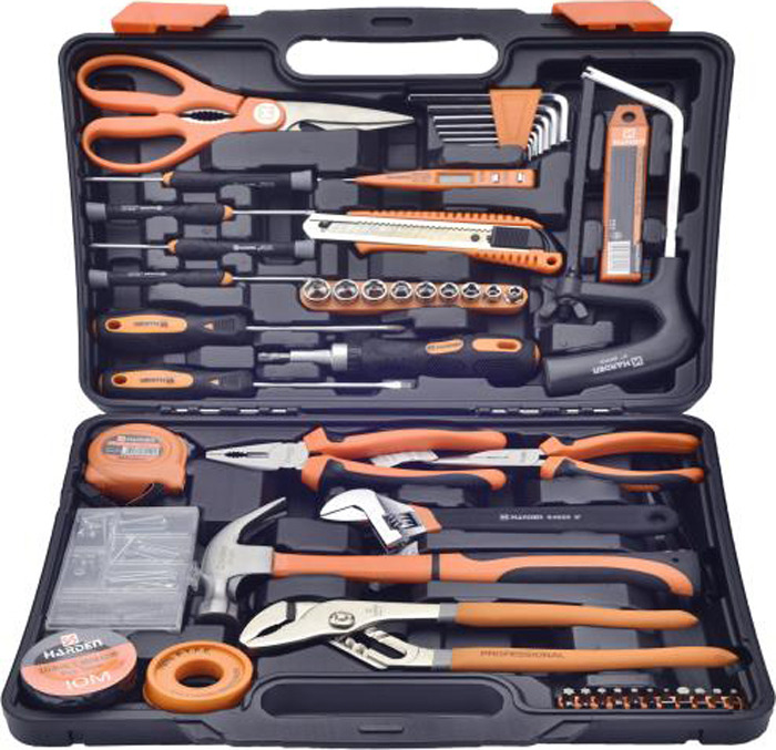 лучшая цена Набор инструментов Harden, 511012, слесарно-монтажный, универсальный, 63 предмета