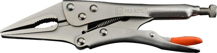 Зажим Harden, 560622, с фиксатором, удлиненный захват, 21,8 см560622Зажим Harden сделан из высококачественной углеродистой стали CS-55 (легирована никелем и хромом). Поверхность дополнительно никелирована для повышения износостойкости и устойчивости к коррозии. Оснащен фиксатором. Длина инструмента 21,8 см.