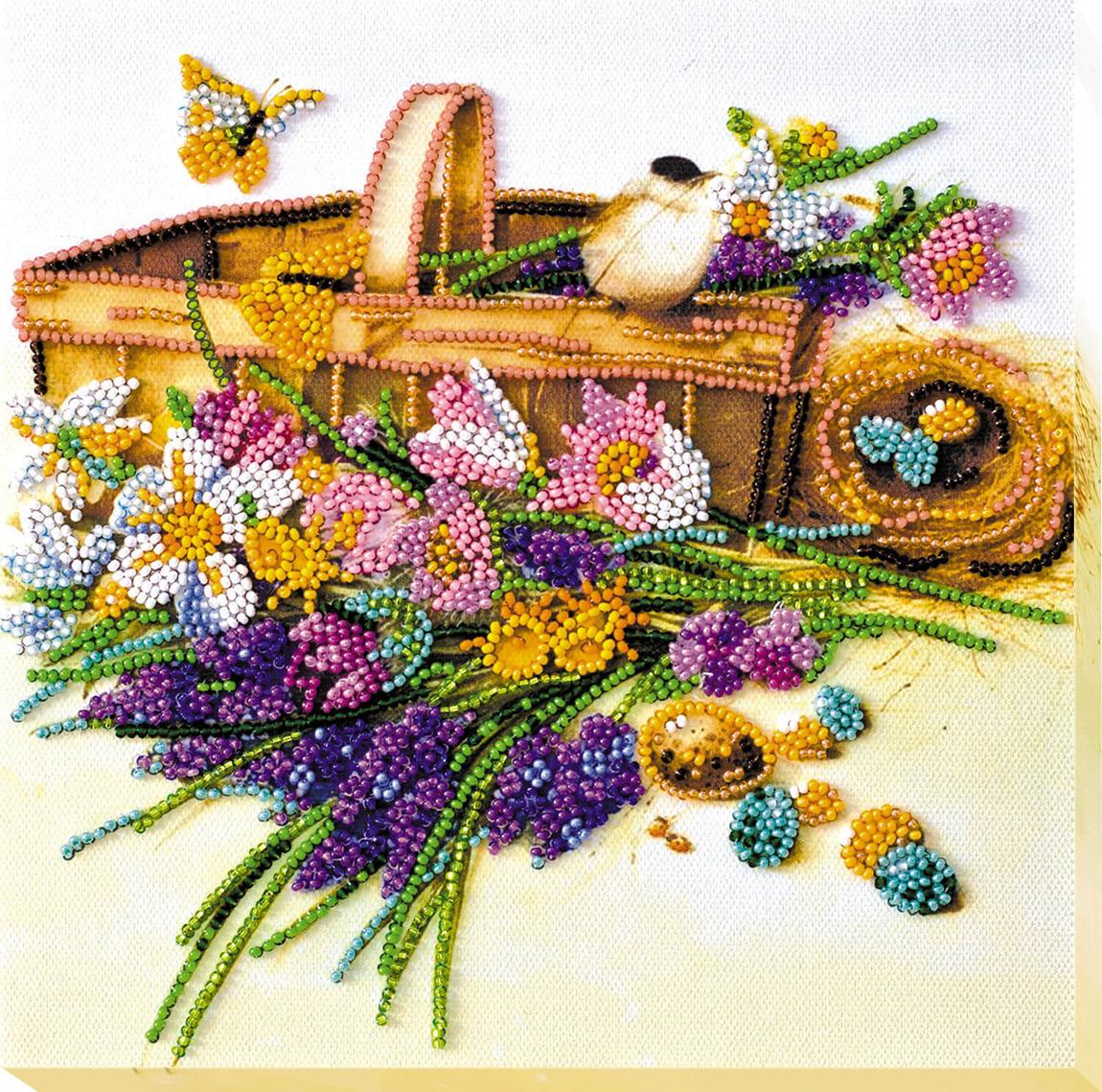 """Набор для вышивания бисером Абрис Арт """"Ранние цветочки"""", АМВ-024, 20 х 20 см"""