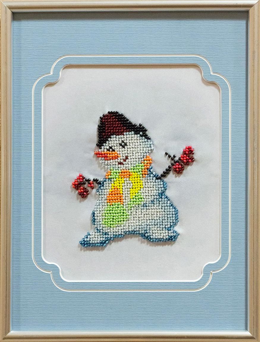 Набор для вышивания бисером Матренин Посад Снеговик, 84/БП, 24 х 18 см