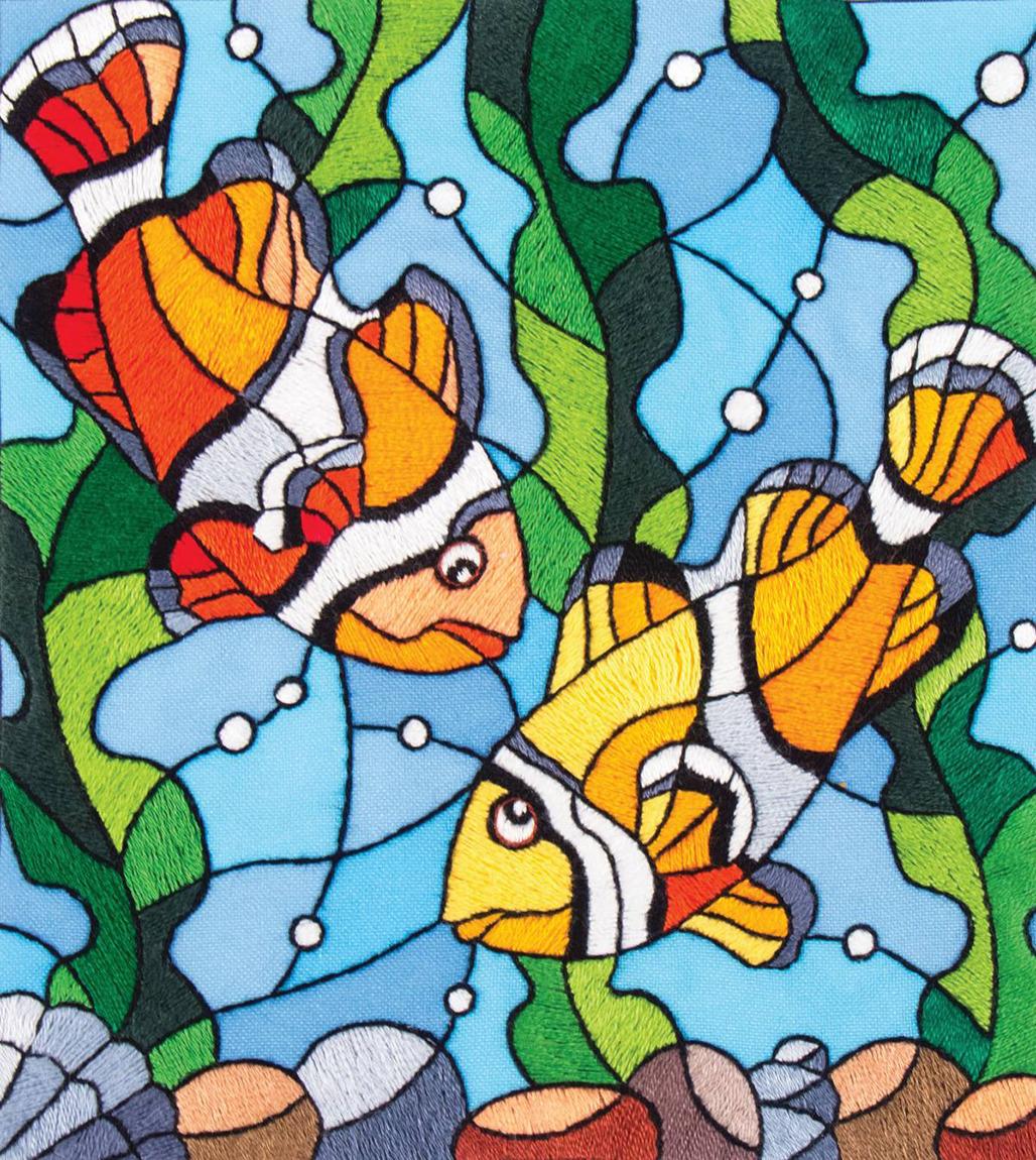 Набор для вышивания гладью Матренин Посад Рыбки клоуны, 5521/ГЛ, 25 х 22 см набор для вышивания матренин посад шкатулка с монограммой 22 х 17 х 6 5 см