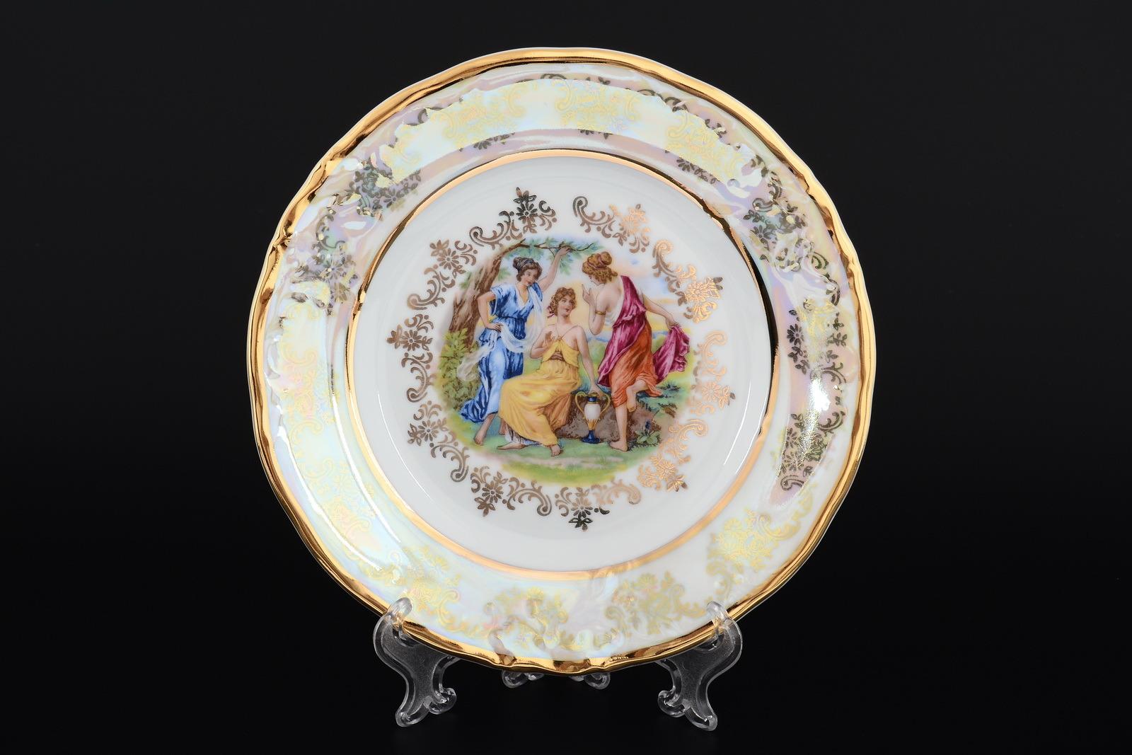 Набор тарелок 19 см Мадонна перламутр Корона (6 шт)