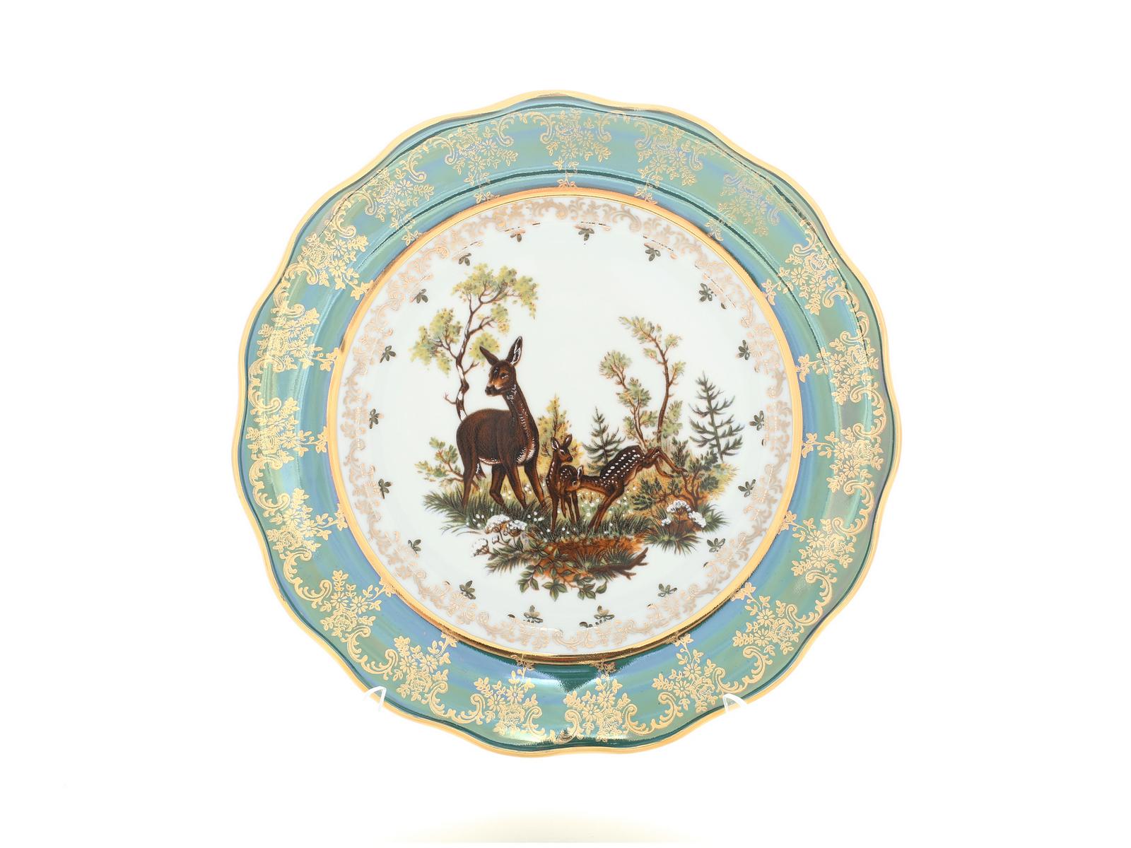 Набор тарелок 25 см Охота зеленая Корона