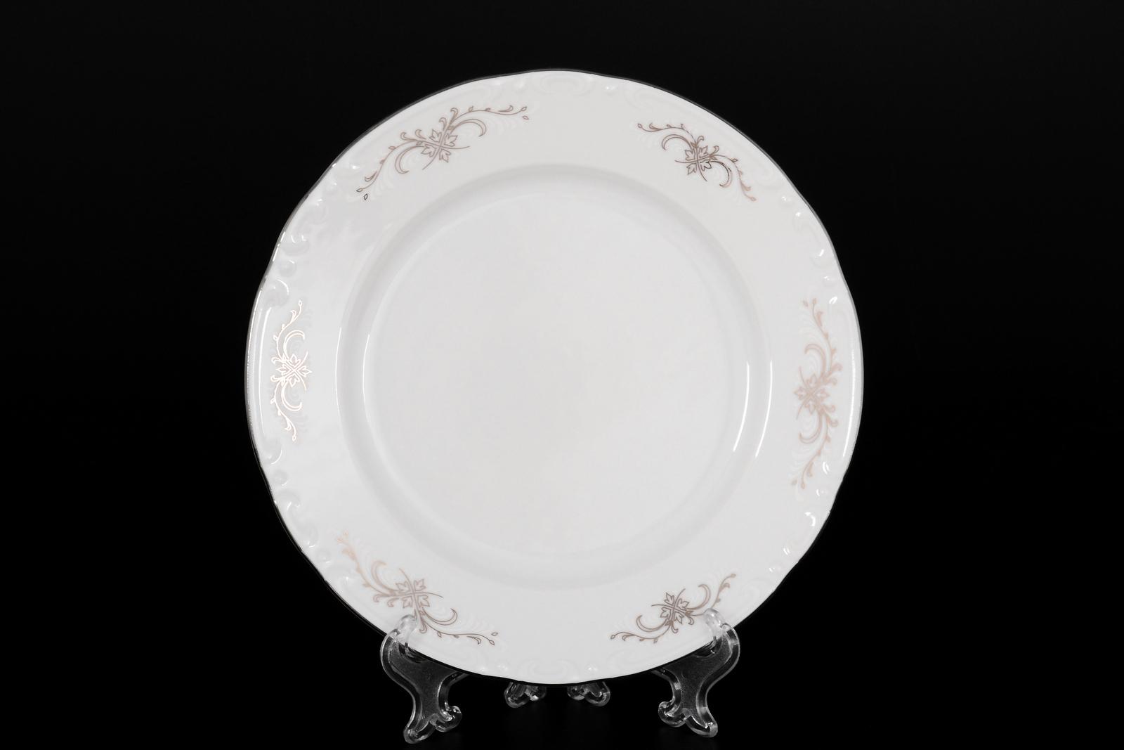 Набор тарелок 19 см Констанция Серый орнамент Отводка платина (6 шт)