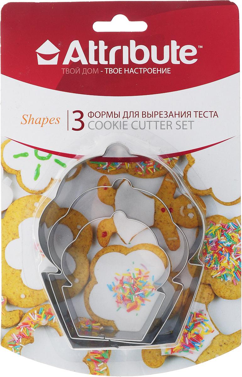 Набор форм для вырезания теста Attribute Shapes Кексы, ABM203, 3 шт набор форм для вырезания теста attribute cookie 4 шт atv519