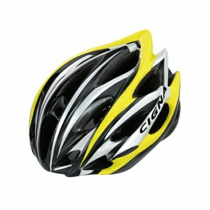 Велошлем Cigna WT-015, 883033, черный, белый, желтый, размер 57-62 недорго, оригинальная цена