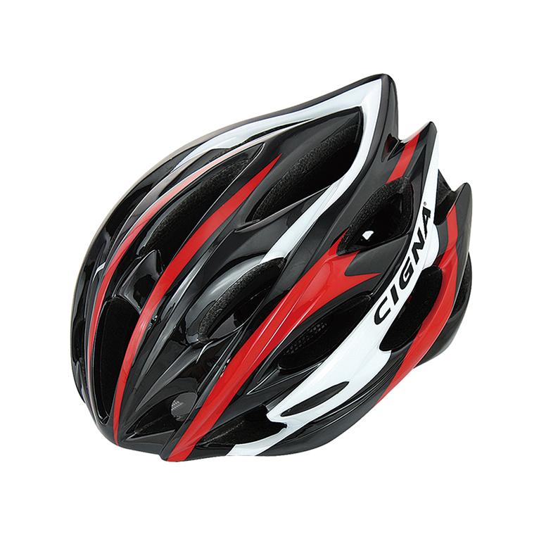 Велошлем Cigna WT-015, 883032, черный, белый, красный, размер 57-62 недорго, оригинальная цена