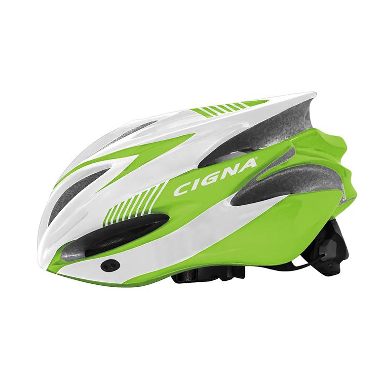 Велошлем Cigna WT-029, 883029, белый, салатовый, размер 57-62 недорго, оригинальная цена