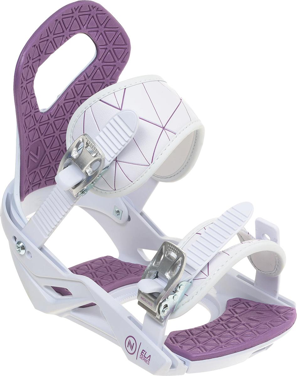 Крепления для сноуборда женские Nidecker Ela, цвет: белый. Размер S/M