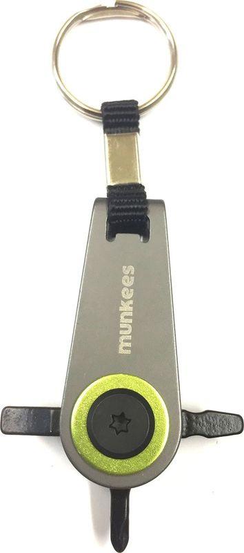 Брелок-отвертка Munkees Q Driver, со сменными насадками, цвет: серебристый