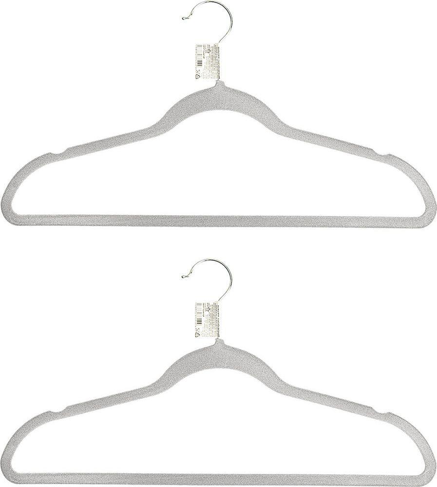 Набор вешалок для одежды Home Queen Велюр, 74285, в ассортименте, длина 45 см, 2 шт набор вешалок для одежды home queen цвет молочный 3 шт