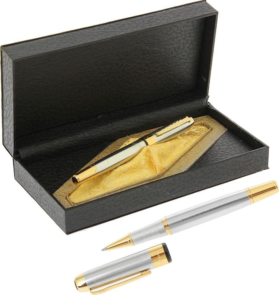Ручка подарочная капиллярная Calligrata  Престиж , 240570, в футляре, корпус серебристый, золотой