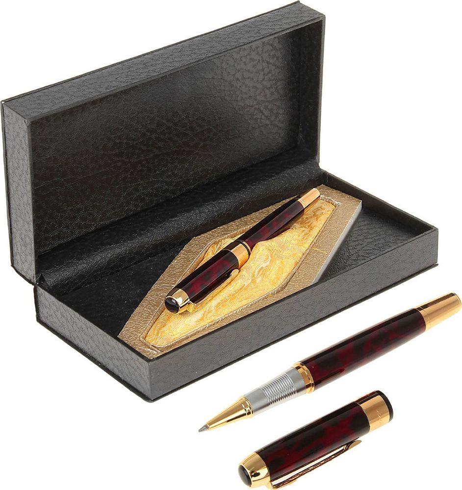 Ручка подарочная капиллярная Calligrata  Престиж , 714155, в футляре, корпус бордовый, золотой