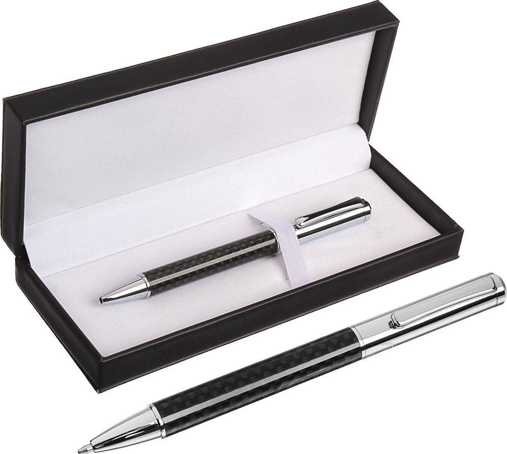 Ручка подарочная шариковая Calligrata  Эффект , 3604788, в футляре, поворотная, корпус черный, серебристый