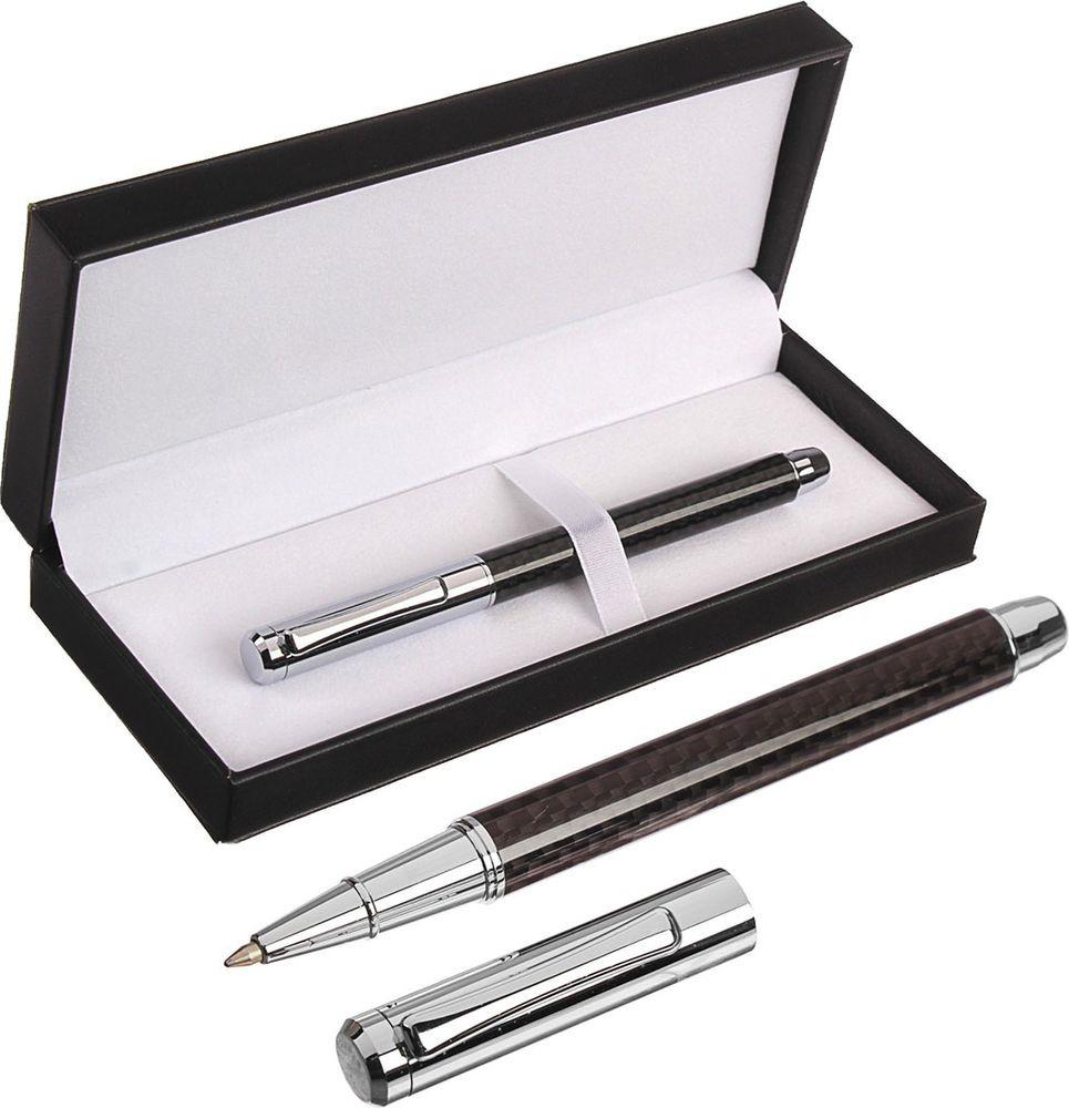 Ручка подарочная шариковая Calligrata  Эффект , 3604789, в футляре, корпус серебристый, черный