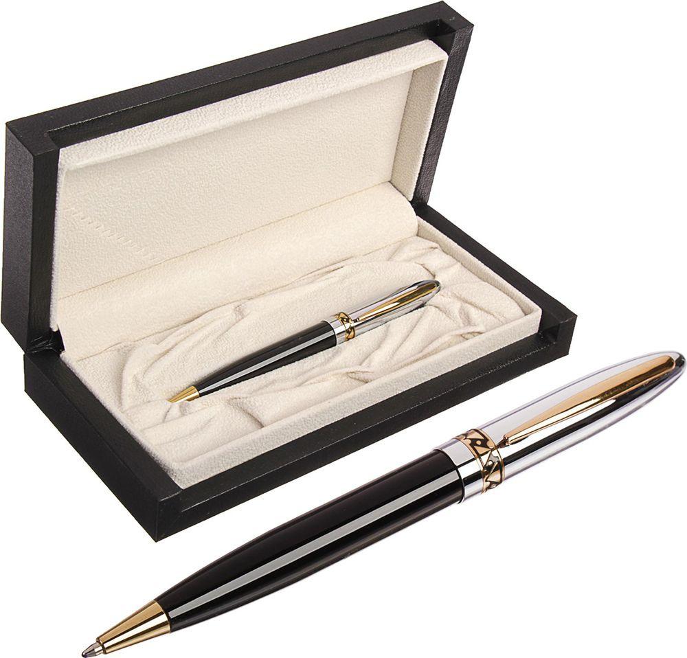 Ручка подарочная шариковая Calligrata  Грань , 3604832, в футляре, поворотная, корпус черный, серебристый