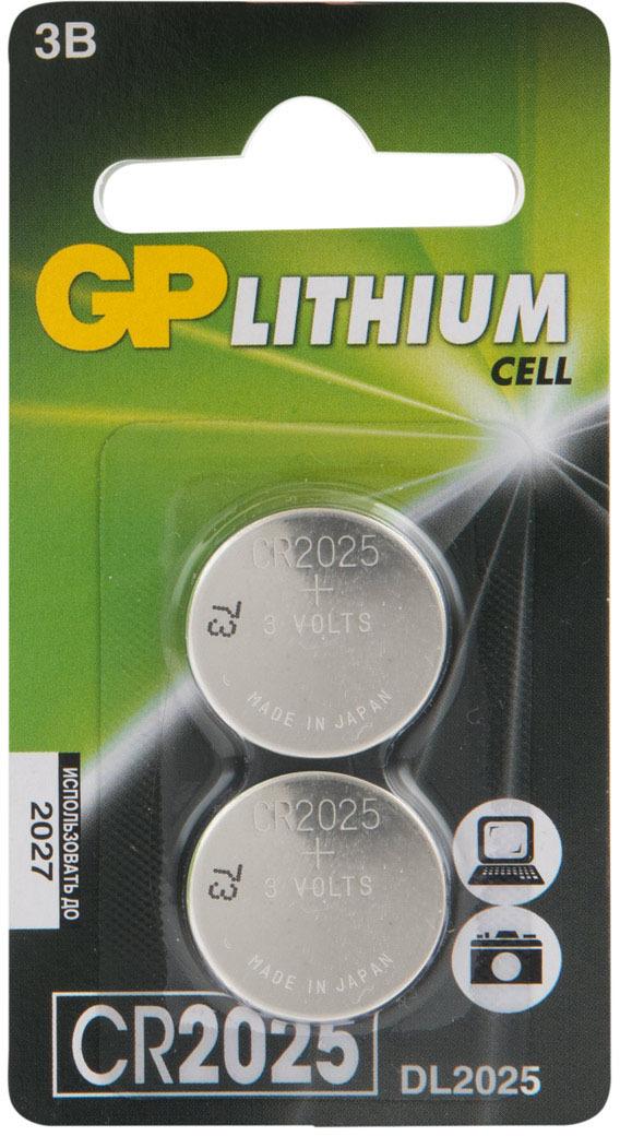 элементы питания gp аккумулятор gp 250aahc 2decrc4 Батарейка GP Batteries CR2025E-7CR2, 11194, 2 шт
