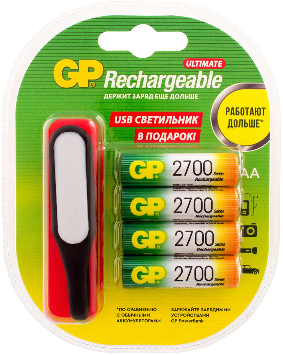 Батарейка аккумуляторная GP Batteries 270AAHC/USBLED-2CR4, 13265, 4 шт + USB светильник в подарок автомобильный usb адаптер gp batteries gp ap12bmcu 2cr1