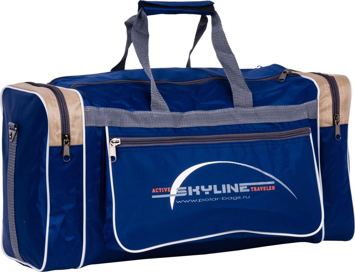 Сумка дорожная Polar Нейлон, 6007/6, синий, бежевый, серый, 30,5 л сумка спортивная polar цвет синий оранжевый 30 5 л 6007