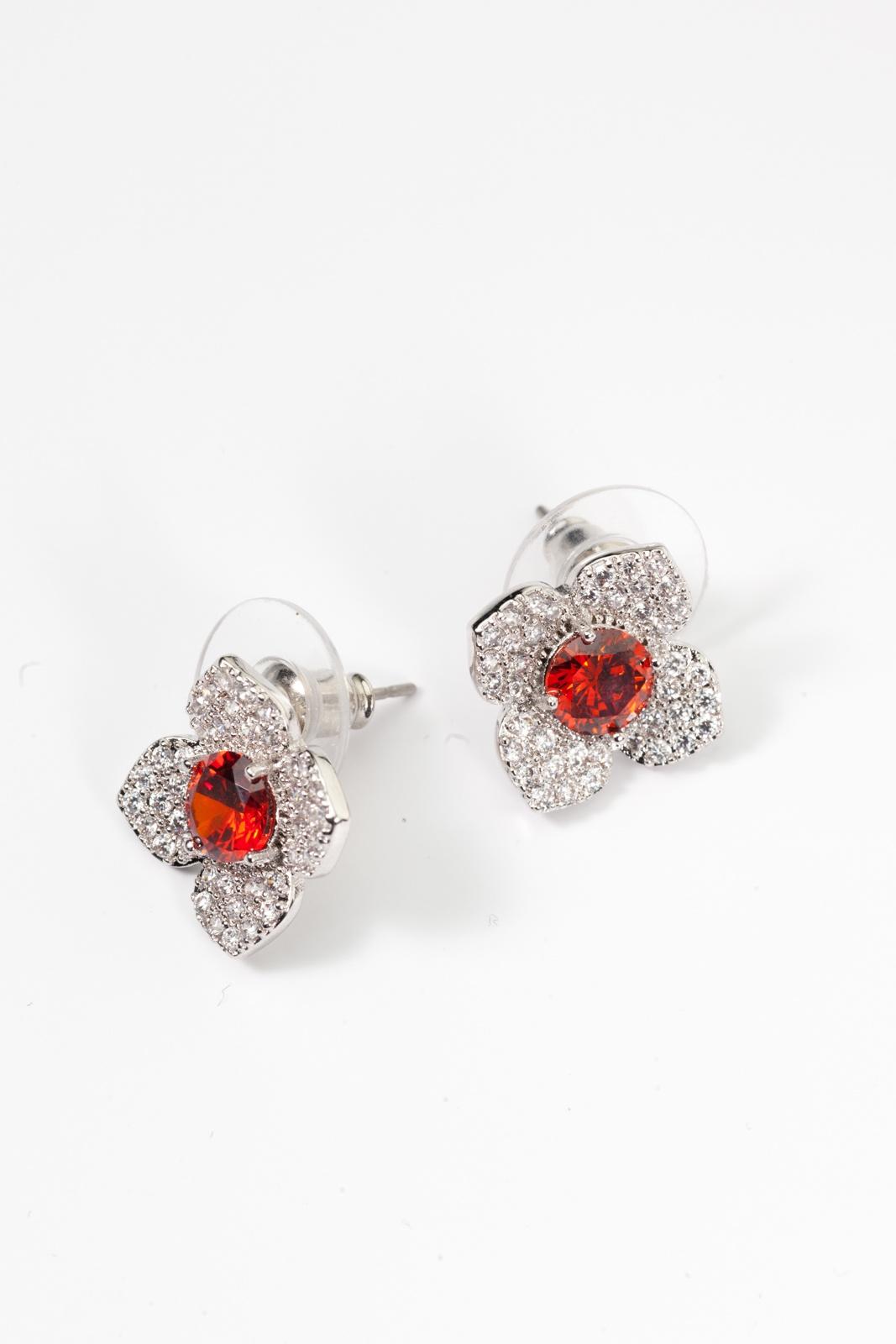 Серьги Bradex «КРАСНЫЙ ЦВЕТОК» AS 0118, серебристый, красный стоимость