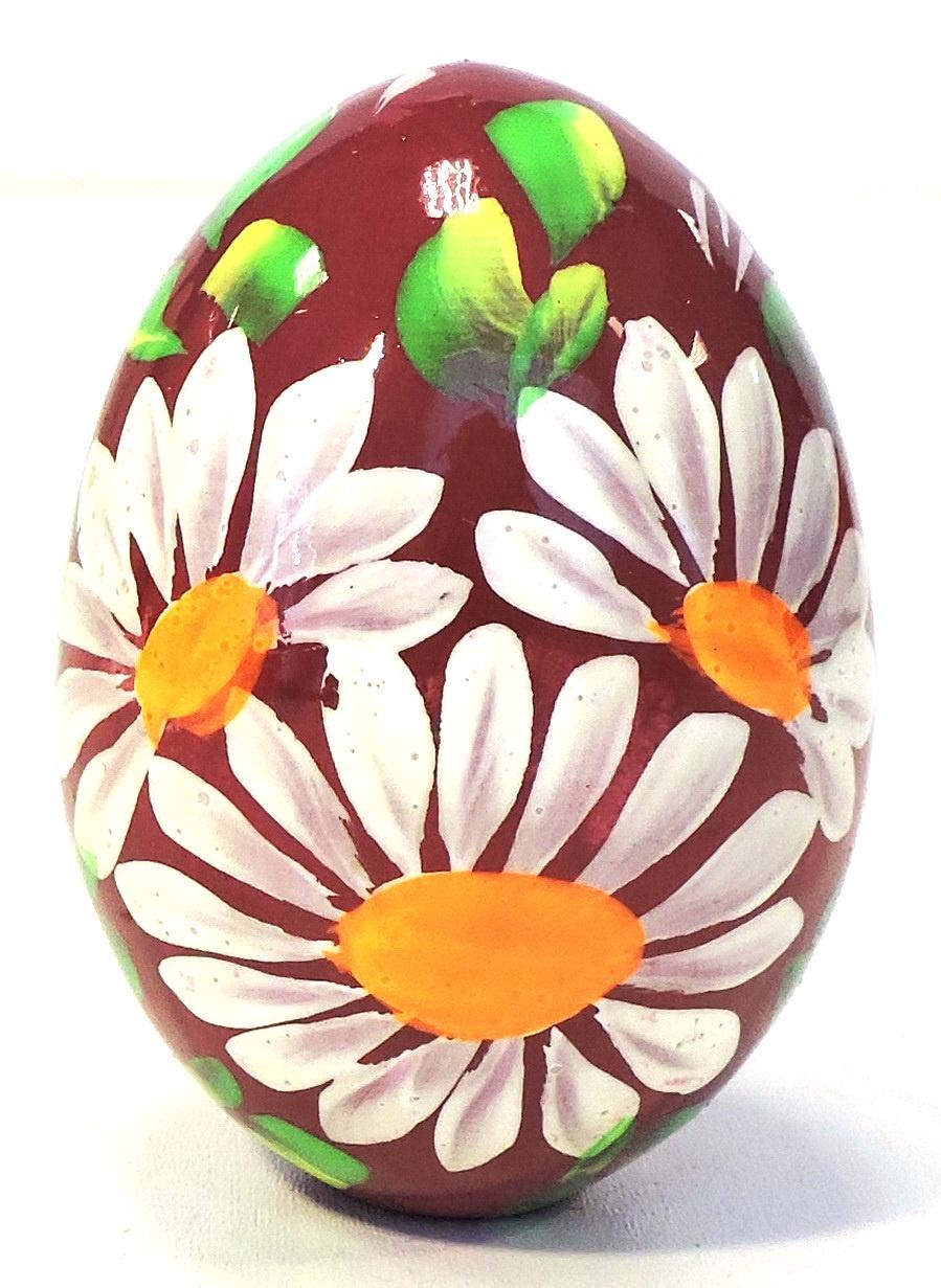 Пасхальные сувениры . Яйцо среднее бордовое с ромашкой