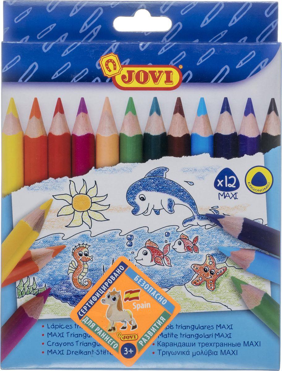 Карандаши цветные Jovi, 735/12, треугольные, утолщенные, 12 цветов