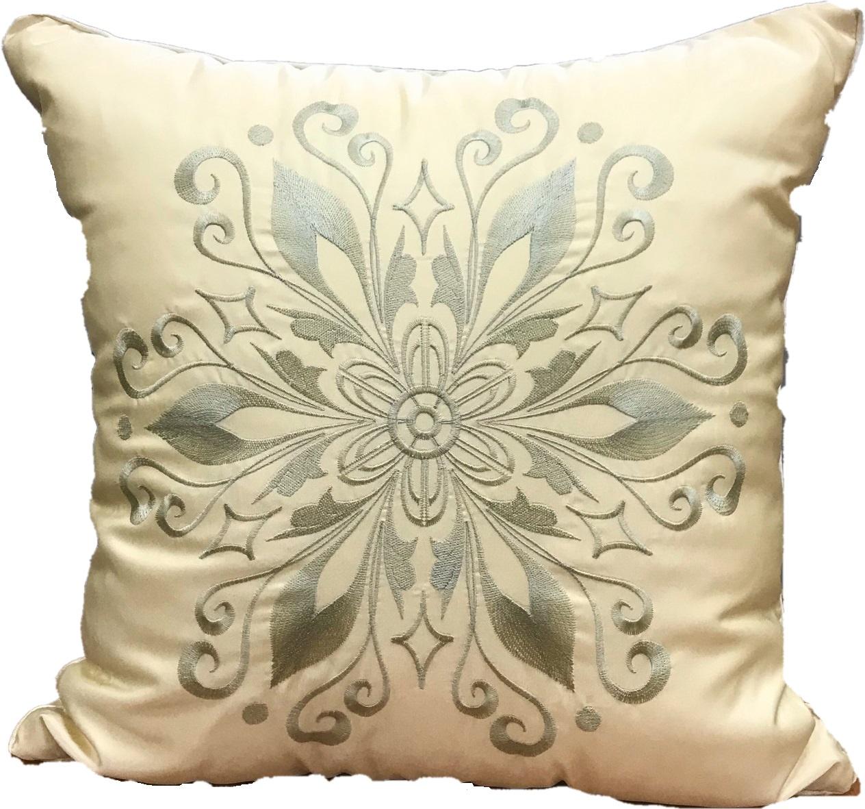 Подушка декоративная с вышивкой и кантом FLAUM HOME/ФЛАУМ ХОУМ, экрю, 50х50 недорго, оригинальная цена
