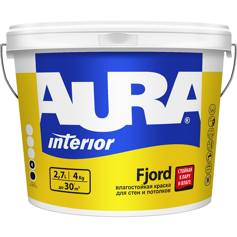 Краска AURA Fjord влагостойкая для стен и потолков цена и фото